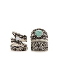 Forever 21 - Metallic Burnished Feather Ring Set - Lyst