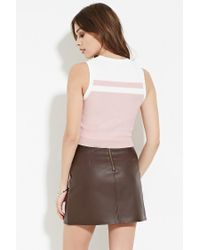 Forever 21 - Pink Contrast Paneled Top - Lyst