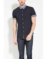 Forever 21 - Blue Chambray Collar Shirt for Men - Lyst