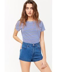 32c5346ddf Forever 21 Women's High-waisted Denim Shorts in Blue - Lyst