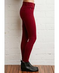 Forever 21 - Red Mid-rise Skinny Jeans You've Been Added To The Waitlist - Lyst