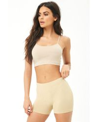 Forever 21 - Natural Ribbed-trim Seamless Shorts - Lyst