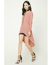 Forever 21 Purple Slub Knit High-low Tunic