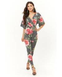 Forever 21 Red Floral Print Striped Jumpsuit
