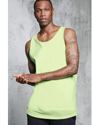Forever 21 | Yellow Double-layered Hem Mesh Tank for Men | Lyst