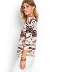Forever 21 - Natural Mixed Print Top - Lyst