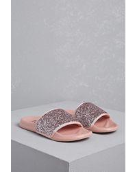 Forever 21 Pink L4l By Lust For Life Glitter Slides