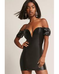 Forever 21 Faux Leather Sweetheart Dress , Black