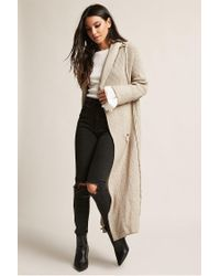 Forever 21 Natural Open-front Longline Cardigan