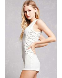 Forever 21 - White Lace-up Side Knit Romper - Lyst