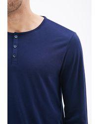 Forever 21 Blue Three-button Pima Cotton-blend Henley for men