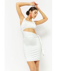 Forever 21 - White Pieced Waist-wrap Dress - Lyst