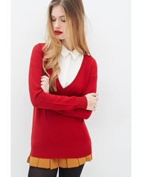 Forever 21 - Red Deep V-neck Sweater - Lyst