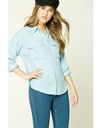 Forever 21 - Blue High-low Chambray Shirt - Lyst