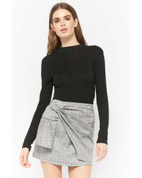 Forever 21 Black Glen Plaid Mock Wrap Skirt