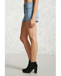 Forever 21 Blue Women's High-waisted Denim Shorts