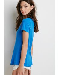 Forever 21 Blue Distressed Trim Tee