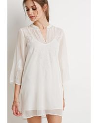 Forever 21 Natural Embroidered Chiffon Peasant Tunic