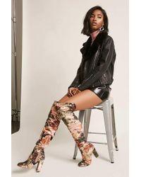 Forever 21 Multicolor Floral Velvet Over-the-knee Boots