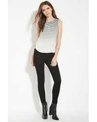 Forever 21 - Gray Contemporary Square Print Top - Lyst