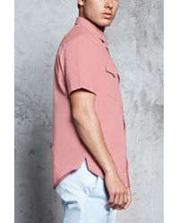 Forever 21 - Pink Slim-fit Cotton Shirt for Men - Lyst
