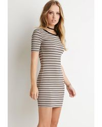 Forever 21 - Black Ribbed Stripe Bodycon Dress - Lyst