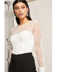 Forever 21 White Mesh Lace Illusion Top