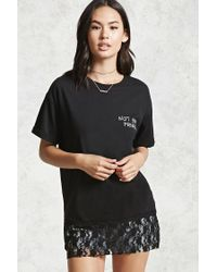 Forever 21 Black Not Your Princess Lace Hem Tee