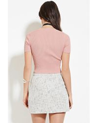 Forever 21 | Pink Ribbed Mock Neck Top | Lyst