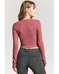 Forever 21 - Women's Self-tie Heathered Top - Lyst