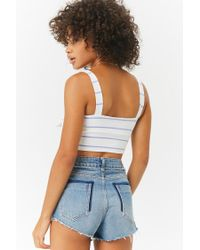 Forever 21 - White Striped Crop Cami - Lyst