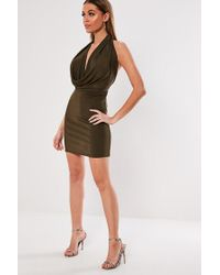 Missguided Brown Cowl Neck Mini Dress At , Chocolate