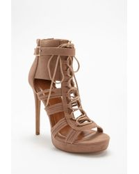 Forever 21 Brown Shoe Republic Faux Suede Caged Heels