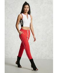 Forever 21 Red Pipe-trim Ankle Pants
