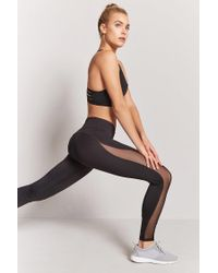 Forever 21 Black Active Mesh-panel Leggings