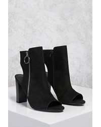 Forever 21 Black Open-heel Faux Suede Boots