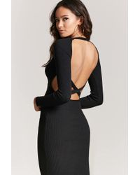 587a743a25d Lyst - Forever 21 Ribbed Knit Bodycon Dress in Black