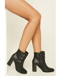 Forever 21 | Black Faux Leather Buckle Booties | Lyst