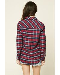Forever 21 - Red Women's Tartan Check Flannel Shirt - Lyst