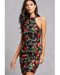 Forever 21 - Black Embroidered High Neck Dress - Lyst