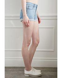 Forever 21 Blue Cuffed Denim Shorts