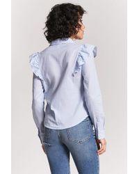 Forever 21 - Blue Pinstripe Flounce Shirt - Lyst