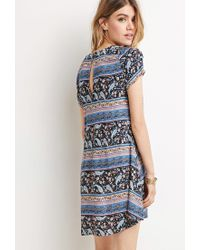 Forever 21 - Blue Buttoned Floral Print Dress - Lyst