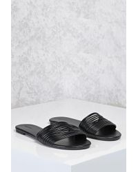 Forever 21 Black Faux Leather Strappy Sandals