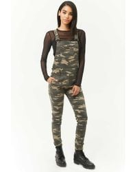 05b820ef6e8 Forever 21 Camo Print Overalls in Green - Lyst