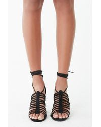 Forever 21 Faux Suede Strappy Cage Heels , Black