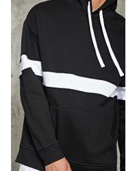 Forever 21 - Black Stripe Fleece Hoodie for Men - Lyst