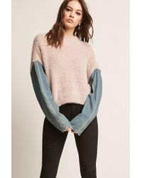 Forever 21 Pink Denim Sleeve Combo Sweater
