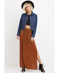 Forever 21 Brown Side-slit Satin Maxi Skirt