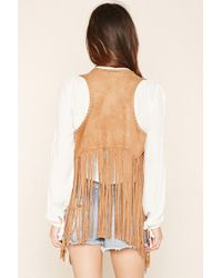 Forever 21 - Natural Fringed Faux Suede Gilet - Lyst